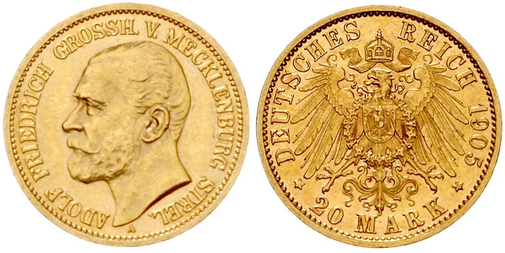 Mecklenburg-Strelitz - Adolf Friedrich V. (1904-1914) 20 Mark 1905 Schätzpreis: 10.000 EUR