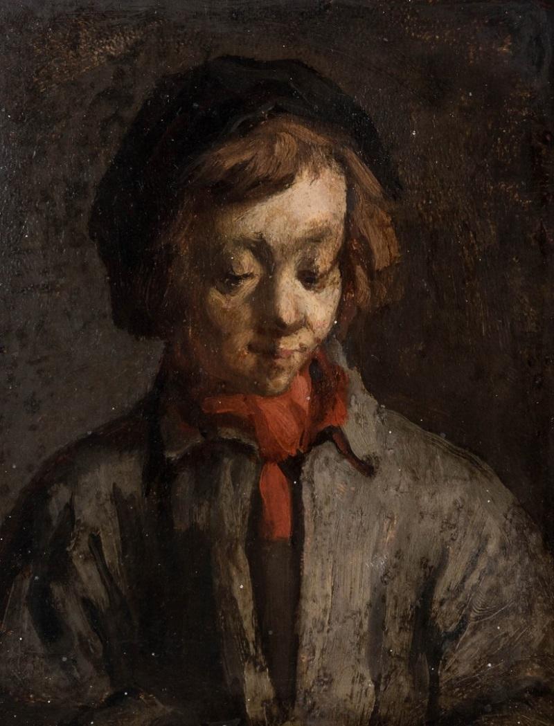 Atribuido a JEAN-FRANÇOIS MILLET. Retrato de un joven con pañuelo rojo