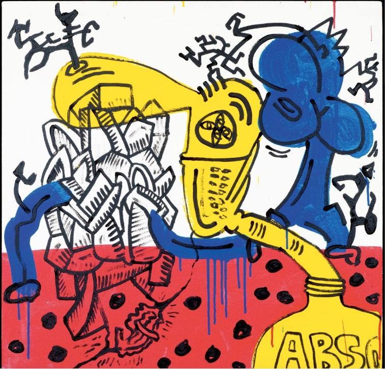 KEITH HARING (Reading/Pennsylvania 1958 - 1990 New York ) - Red, Yellow, Blue #22, Acryl, Öl/Lwd., 75 x75 cm, betitelt, signiert und datiert, 1987 Schätzpreis: 300.000-400.000 CHF (277.780-370.370 EUR)
