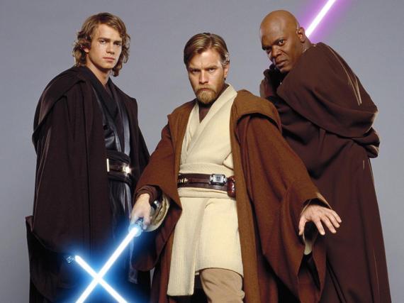 Anakin Skywalker (Hayden Christensen), Obi-Wan Kenobi (Ewan McGregor) und Mace Windu (Samuel L. Jackson) in Star Wars: Episode III - Die Rache der Sith (2005)