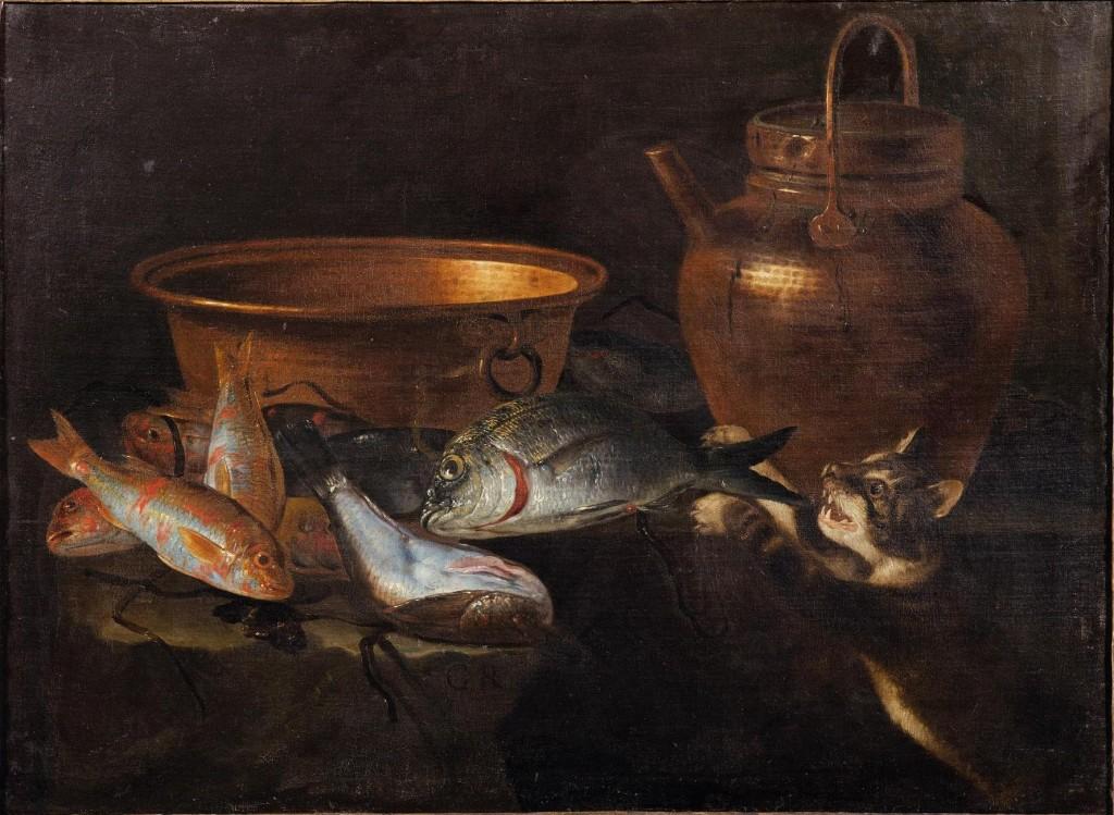 GIUSEPPE RECCO (Neapel 1634-Alicante 1695) - Stillleben mit Fischen, Kupfergefäßen und Katze, Öl/Lwd., 76 x 102 cm, monogrammiert Schätzpreis: 40.000-60.000 EUR