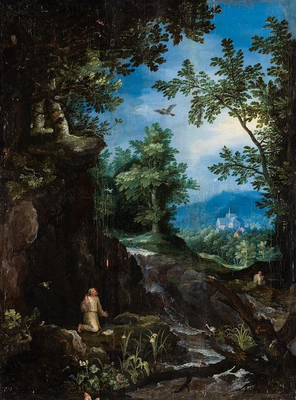 """Jan Brueghel d.ä. (Bryssel 1568 - 1625 Antwerpen). """"San Fransisco får stigmata"""" (fri översättning)."""
