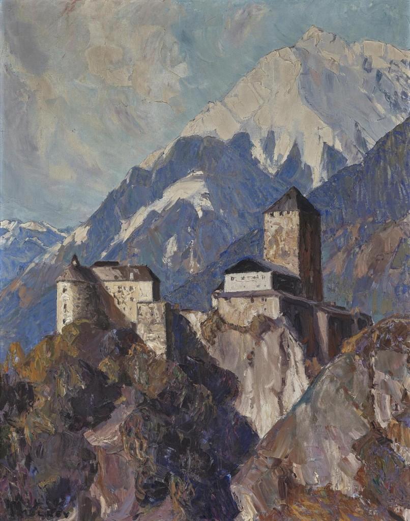 OSKAR MULLEY (1891 Klagenfurt - 1949 Garmisch-Partenkirchen) - Schloss Tirol bei Meran, Öl/Lwd., signiert