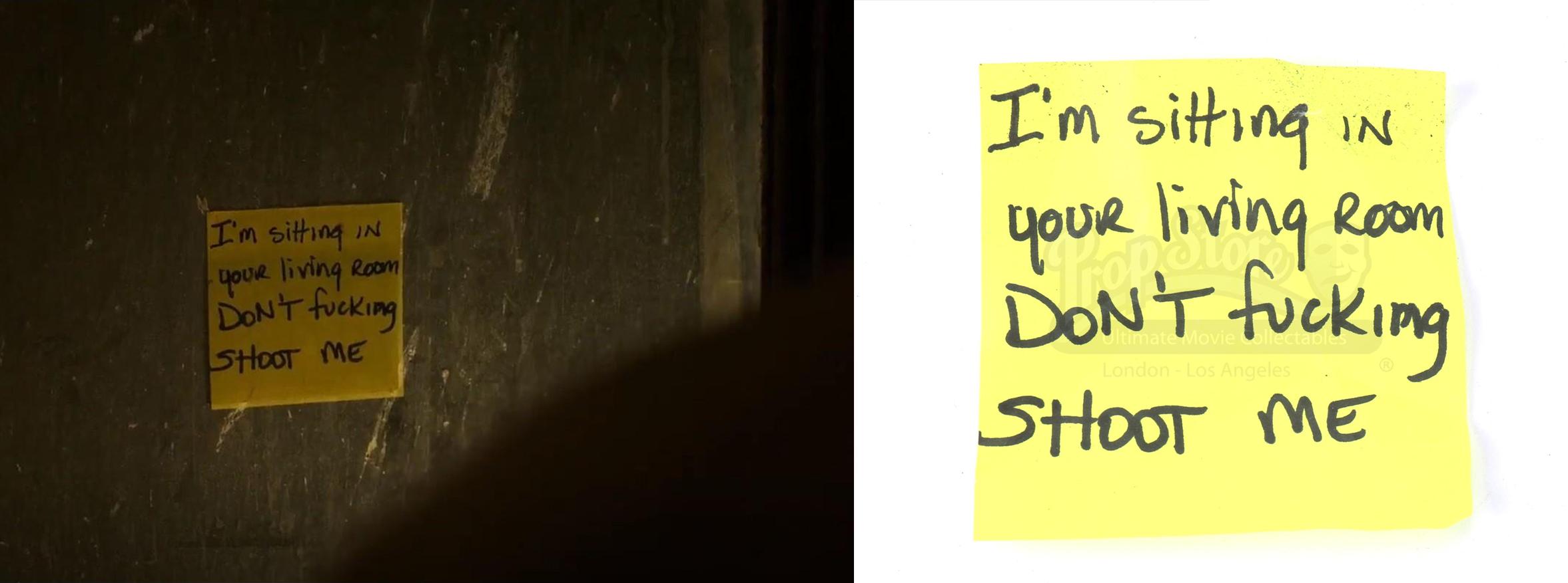 Alejandro's (Benicio Del Toro) Post-it Note from Graver. Photos: Prop Store