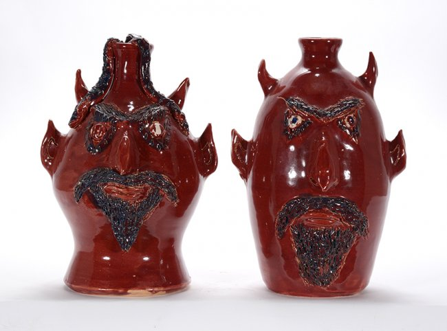 Jerry Brown. Pair of Devil Jugs.1993-94. Slotin Folk Art