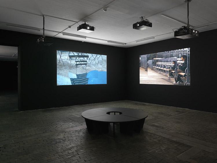 Del av utställningen Bon Voyage av Ernie Gehr på Centre d'Art Contemporain