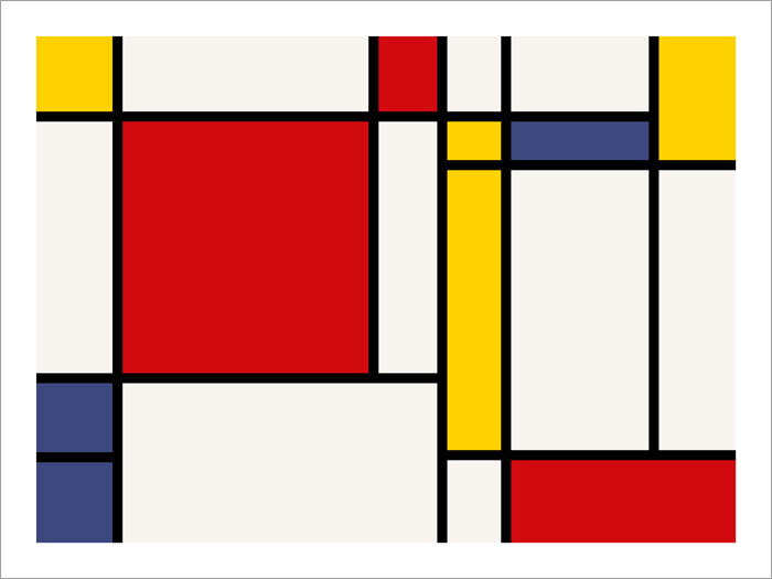 Piet Mondrian, 1921, Composition with Red, Green and Blue Image via robspoolepottery.co.uk