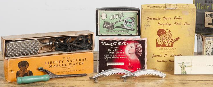 Vintage hair beauty supplies, including hair dryers, curling irons, clippers On sale at Pook & Pook