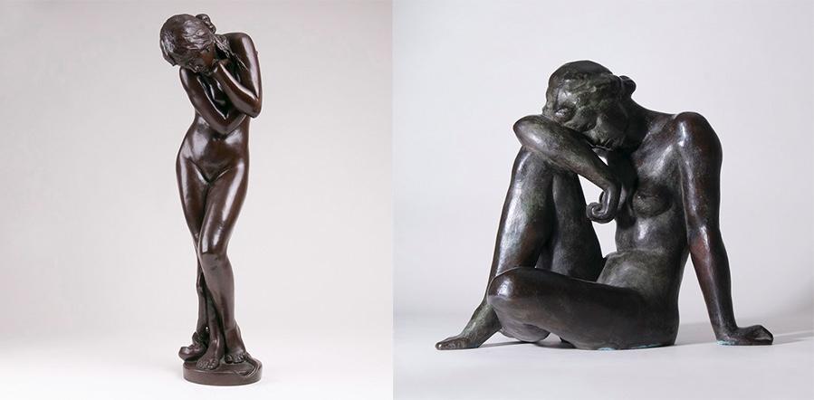 Links: FERDINAND LEPCKE (1866 Coburg - 1909 Berlin) - Eva mit der Schlange, Bronze, Entwurf 1890, Ausformung 1925/45 Rechts: FRITZ KLIMSCH (1870 Frankfurt a, M. - 1960 Saig) - Rastende, Bronze, monogrammiert, 1950