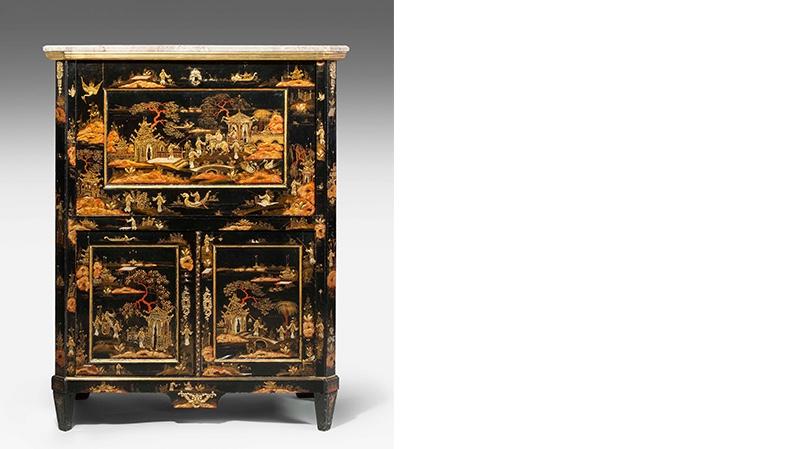Sekretär im Louis XVI-Stil, Eiche, Marmor, Chinalack, 19. Jh.