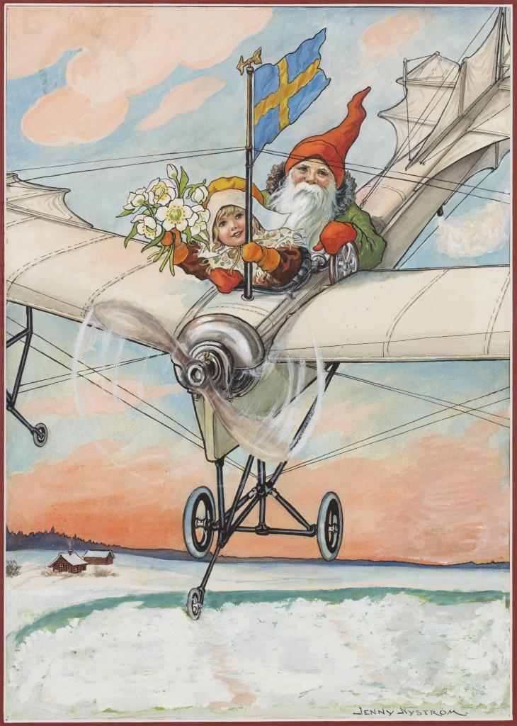 Flygande tomte, 1928. Förlaga till Jultomten (utgiven 1891–1934). Akvarell. Bild Sven-Harrys Konstmuseum / Björn Petrén.