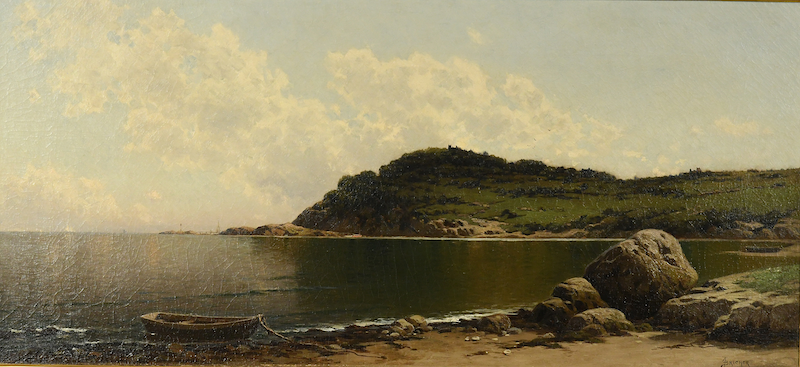 Oil on canvas rocky coastline seascape by Alfred T. Bricher (American, 1837-1908), titled Rocky Coast, signed and framed (est. $30,000-$50,000).