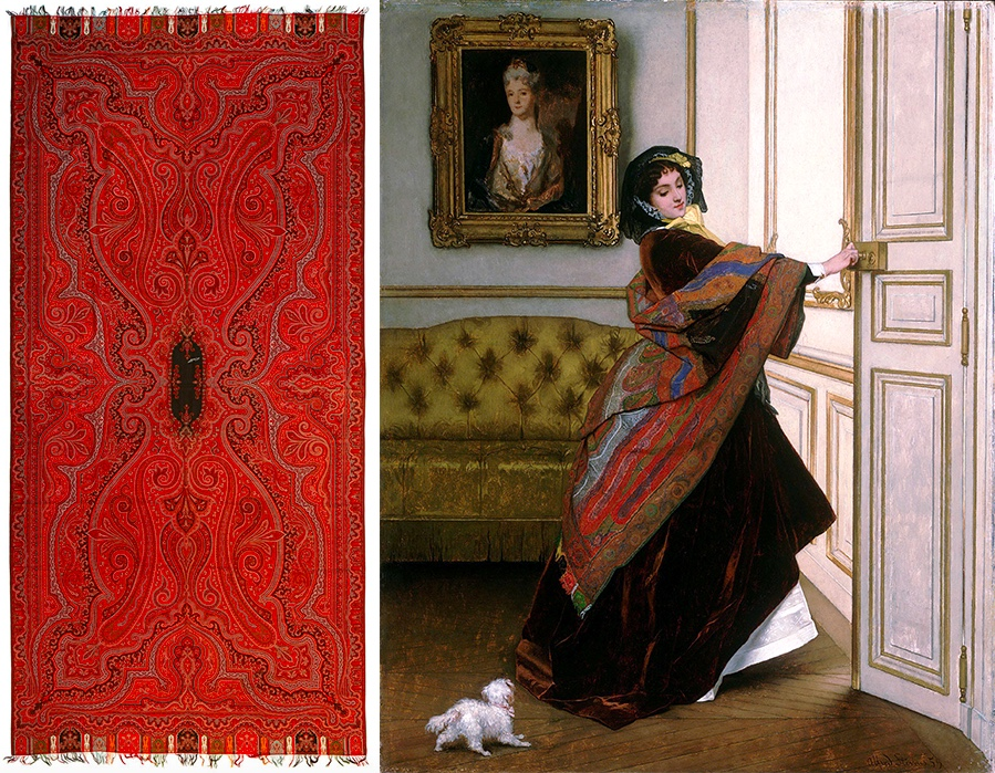 Links: Kashmirschal mit Harlekinbordüre, wohl Frankreich, 19. Jh. Rechts: Alfred Stevens, Veux-tu sortir avec moi, Fido?, 1859 | Philadelphia Museum of Art