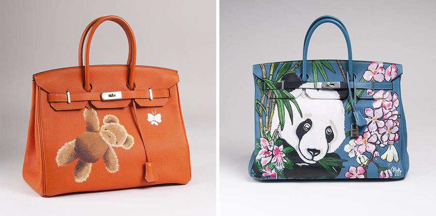 Links: Hermès, Birkin Bag 35 mit Handbemalung von Nanou Herman, 2011 Rechts: Hermès, Birkin Bag 40 mit Handbemalung von Rocky Mazzilli, 2009/2017 | Fotos: Stahl