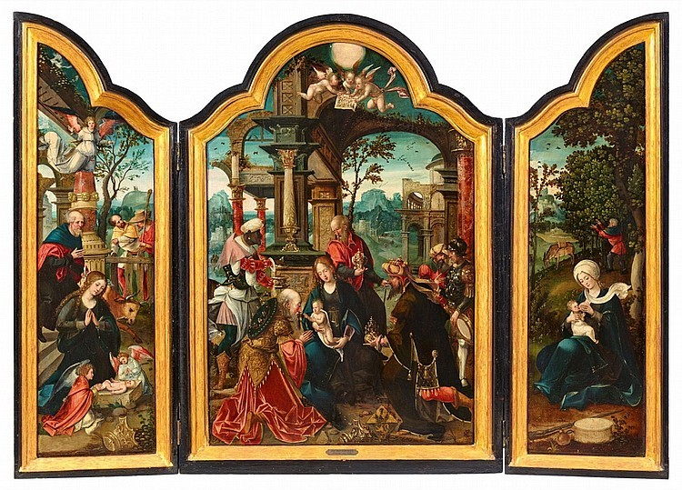 Maître Jan Van Dornicke, 1518, triptyque avec l'Adoration des mages, l'Adoration des bergers et le repos lors de la fuite en Égypte, huile sur bois