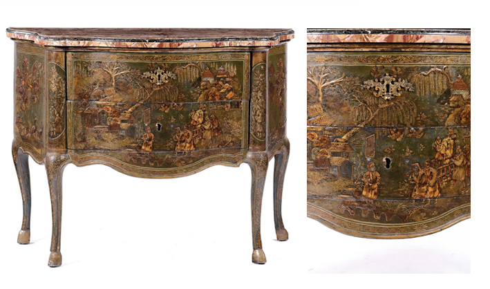 Pair of Louis XV chest of drawers with elaborate decorVeniceEstimate: €25 000-30 000