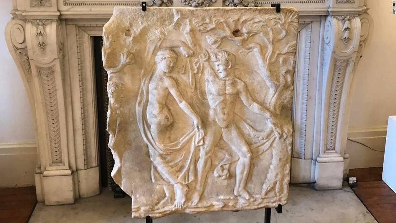 The Roman marble relief sculpture, dating to the 2nd century AD, was returned to Italy by Christie's. Image: Christie's via CNN