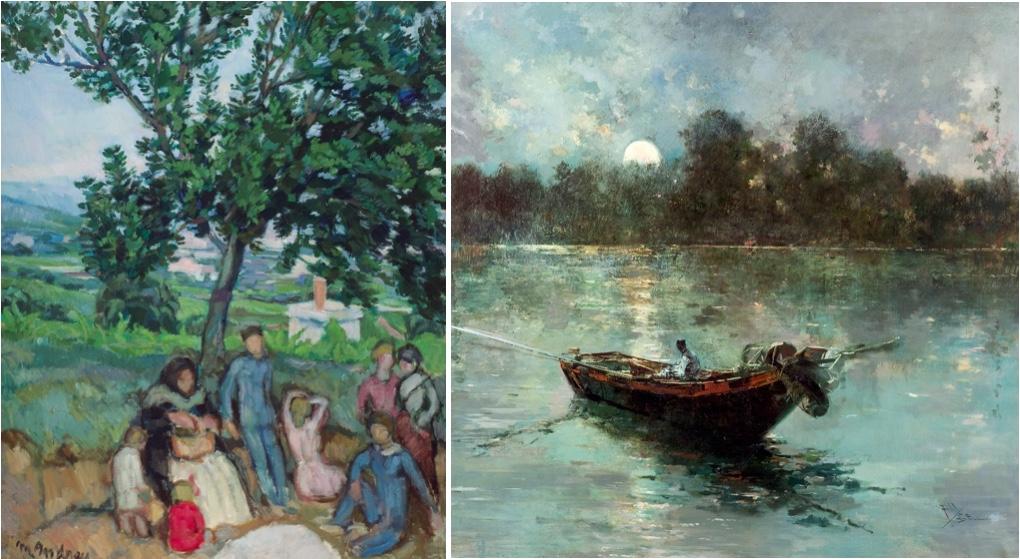 Links: MARIANO ANDREU I ESTANY (1888-1976) - Familia en el campo, Öl/Lwd., signiert und datiert, 1918 Rechts: SALVADOR SANCHEZ-BARBUDO (1857-1917) - Nocturno en el lago Trasimeno, Öl/Lwd., signiert