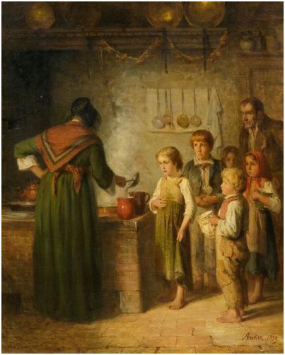 Albert Anker (1831 - 1910), Die Armensuppe, olja. 81,5 x 65 cm, signerad och daterad, 1859. Utropspris: 1.200.000-1.500.000 CHF (1.111.110-1.388.890 EUR)