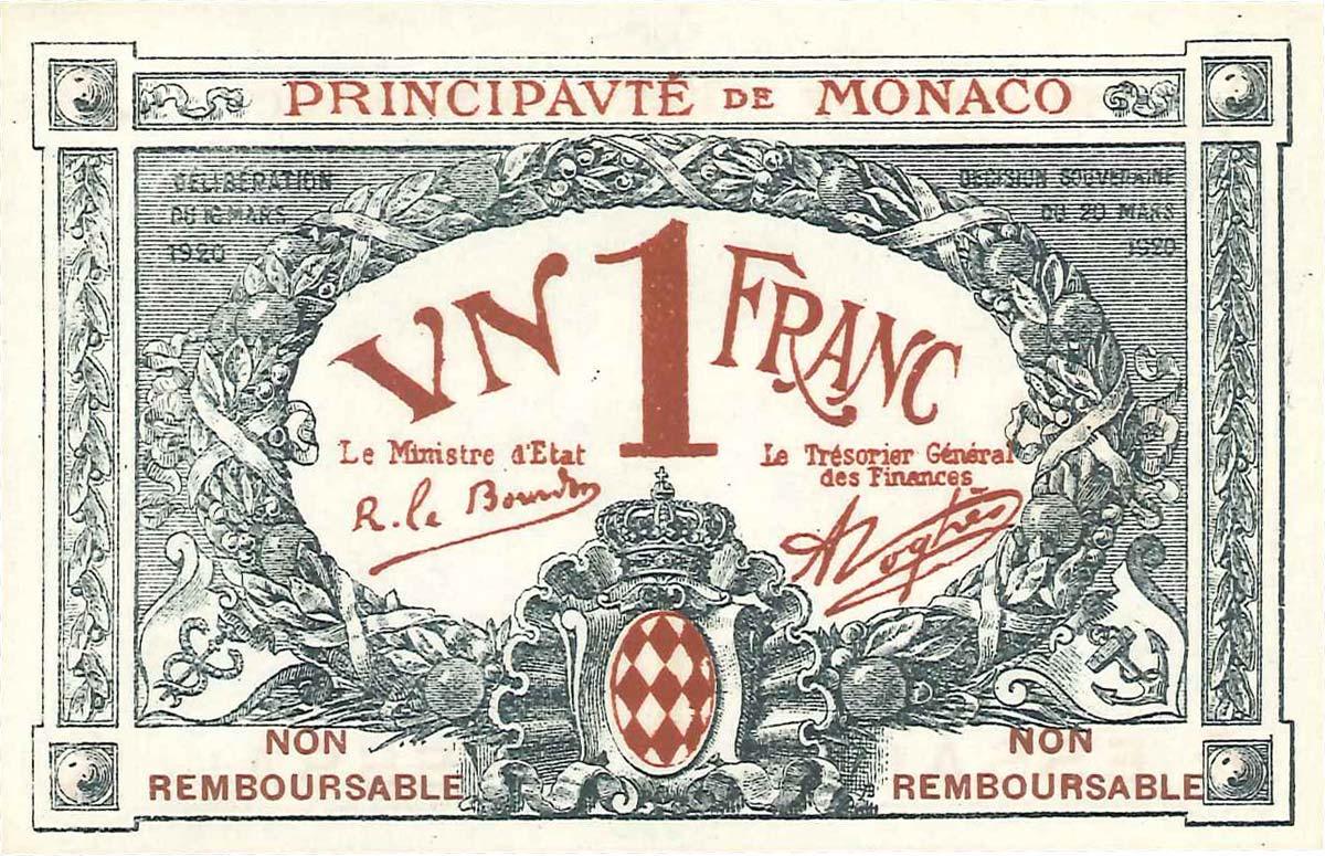1 Franc ESSAI MONACO 1920 P.05r