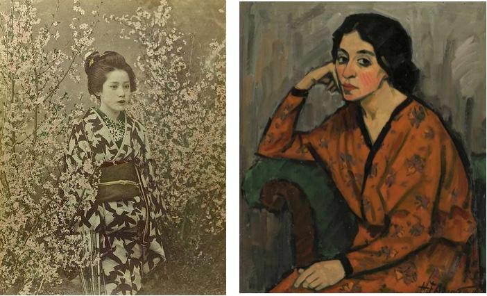 Links: 4 Fotografien, mit Wasserfarben coloriert, Japan ca. 1880 Catawiki Rechts: HEINRICH EMIL ADAMETZ (1884-1971) - Bildnis einer Dame, 1916 Kastern