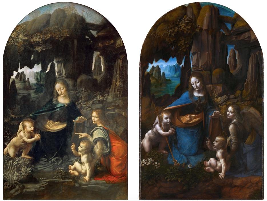 Links: Die Felsgrottenmadonna (1. Version), Öl/Holz, um 1483-86, Paris, Musée du Louvre Rechts: Die Felsgrottenmadonna (2. Version), Öl/Holz, um 1493-1508, London, National Gallery