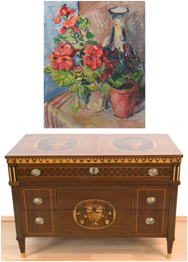 Oben: EMIL ORLIK (1870 Prag-1932 Berlin) - Blumen im Topf und Vase, Öl/MP, 80x 44 cm, signiert Limitpreis: 1.900 EUR Unten: Kommode, Nussbaum auf Eiche furniert, mit Intarsien, 78x113x60 cm, um 1780/90 Limitpreis: 2.800 EUR