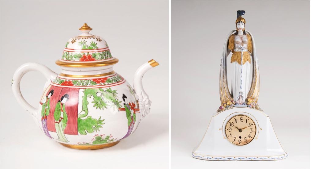 """Links: MEISSEN - Frühe Teekanne mit Chinoiserien, 1722/23 Rechts: MEISSEN - Jugendstil-Pendule """"Pallas Athene"""", Entwurf: Martin Wiegand, 1906-09"""