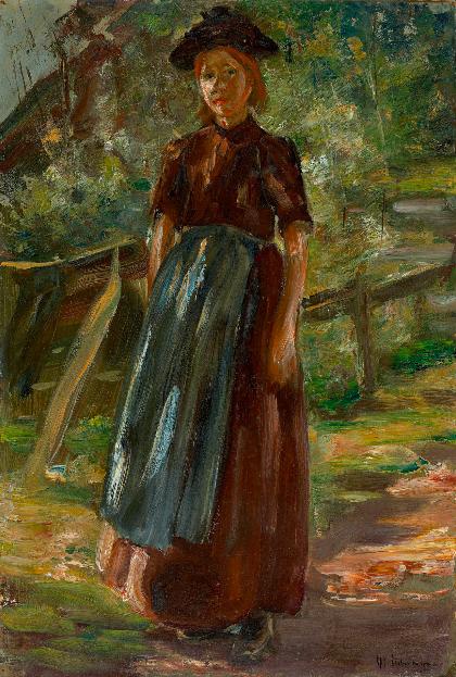 """Max Liebermann, """"Holländisches Mädchen im Grünen"""", 1887 En vente le 30 novembre chez Grisebach Estimation: EUR 140.000 – 180.000"""