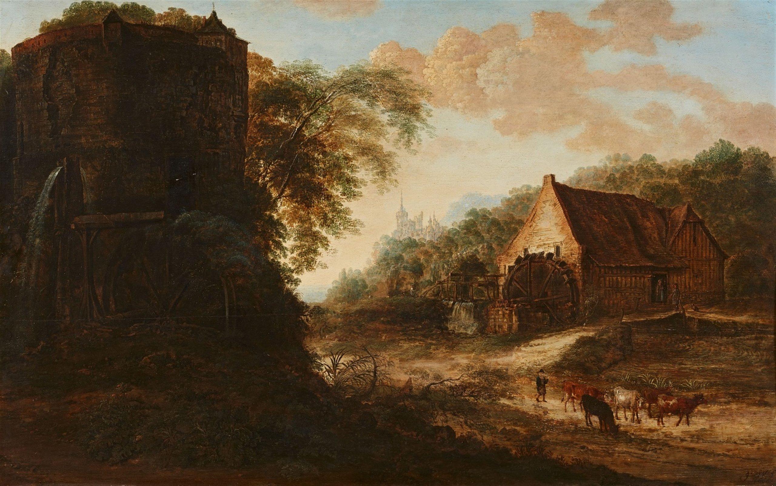 Gillis Neyts (Overijse env. 1618 - 1687 Anvers), Paysage avec un moulin et une tour - Lempertz. Estimation: 10 000€ - 12 000€