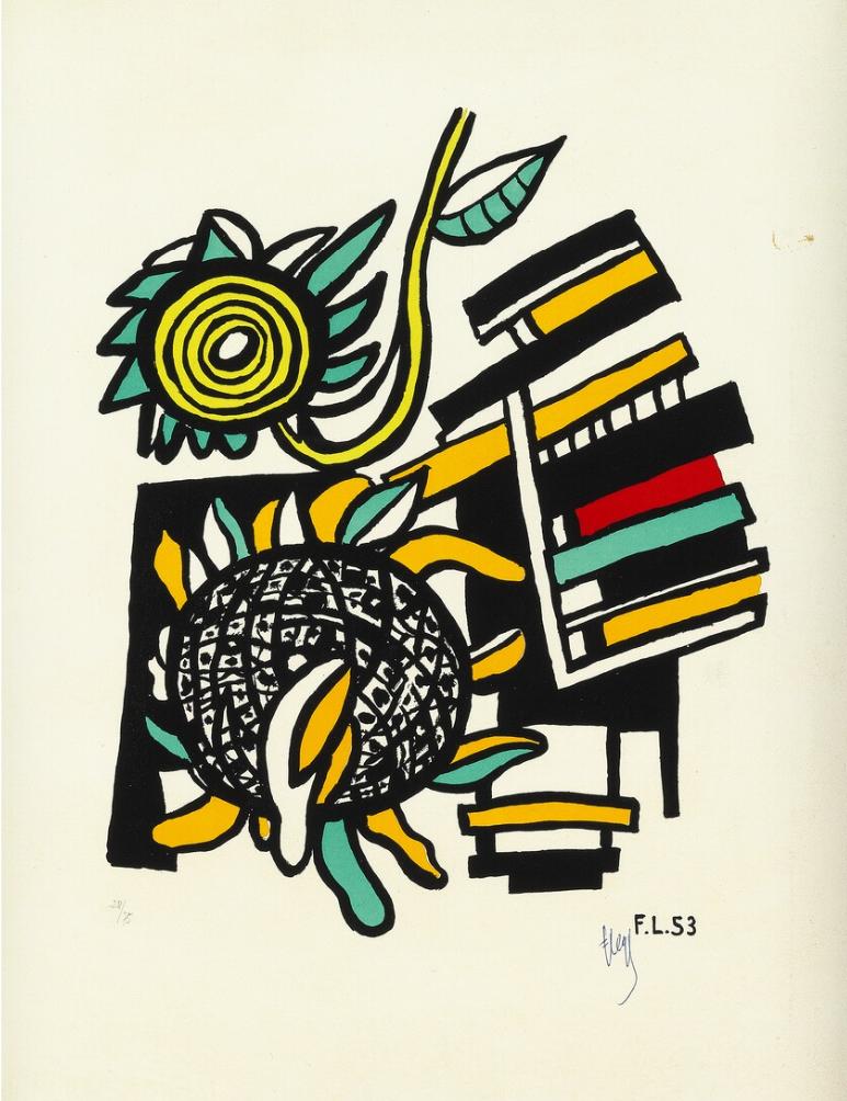 """FERNAND LÉGER. """"Les deux tournesols"""". Firmado (1954)"""