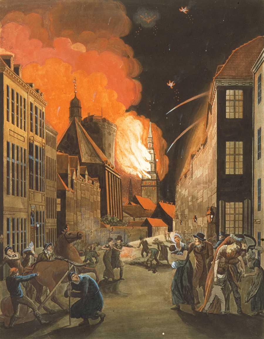 """""""Köpenhamn brinner"""", Christoffer Wilhelm Eckersberg år 1807. Foto: Wikicommons."""