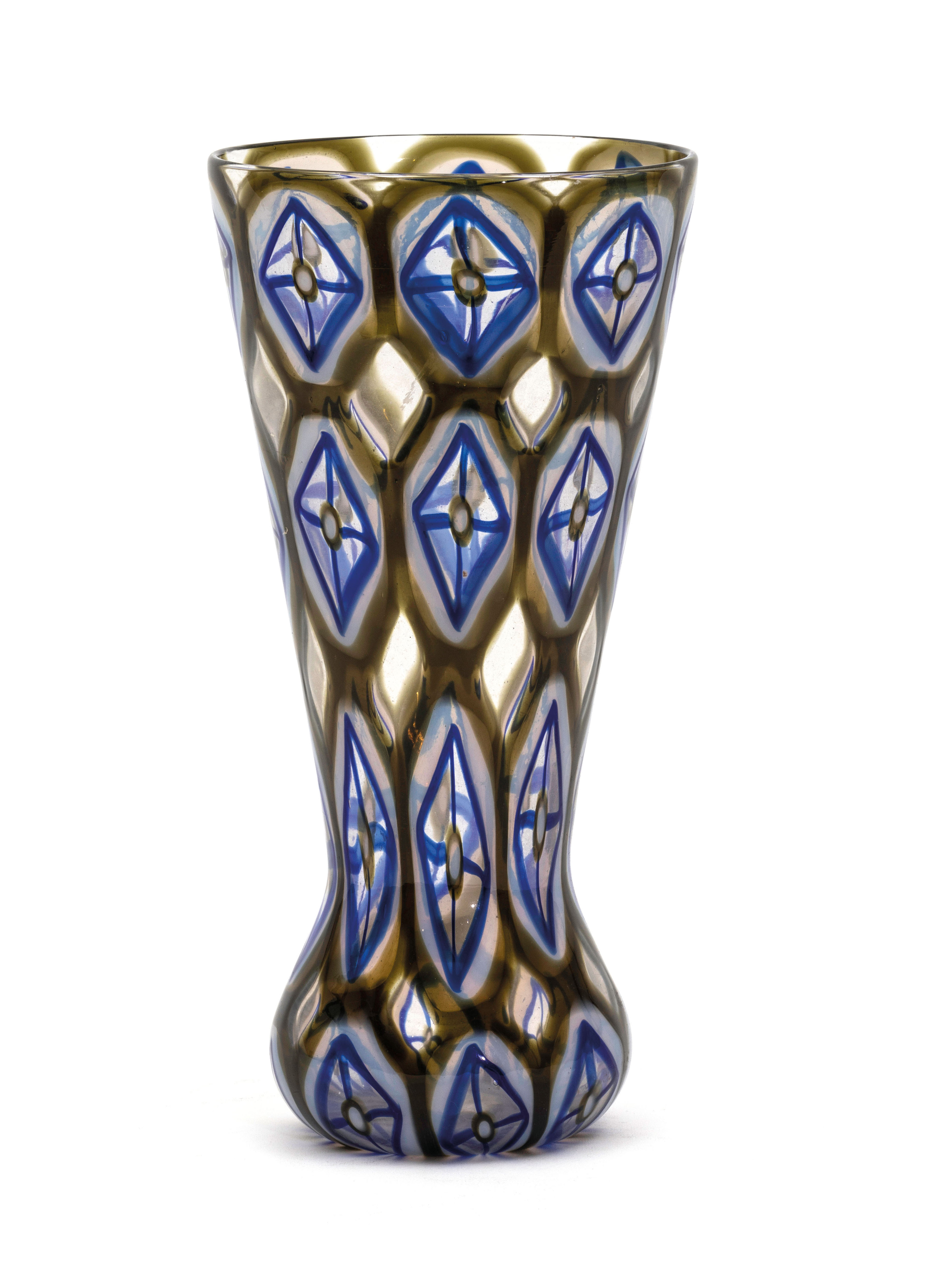 Rare oval, cone-shaped vase from the Athena Cattredrale series, Barovier & Toso