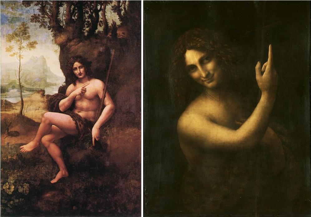 Links: Bacchus, Öl/Holz, um 1510-15, Paris, Musée du Louvre Rechts: Johannes der Täufer, Öl/Holz, um 1513-16, Paris, Musée du Louvre