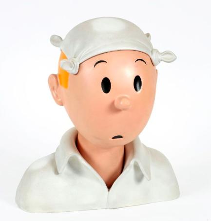 Tintin, le buste au mouchoir, Le Crabe aux pinces d'or, Jean-Marie Pigeon, 1ère version résine lourde, 1992 Estimation: 3 000 / 4 000 € En vente chez Banque Dessinée