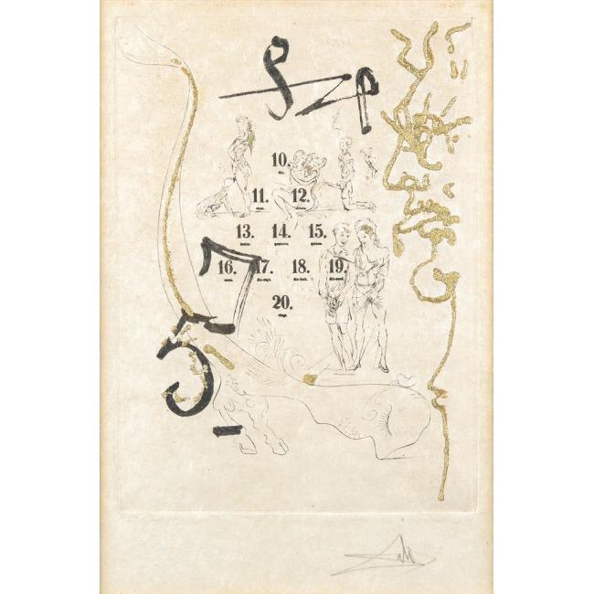 """SALVADOR DALÍ. """"Pan de oro"""". Grabado XXV/CC. Firmado: Dalí (a lápiz)"""