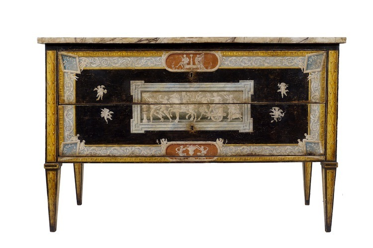 Colasanti Casa D´Aste's auction features a pair beautiful Italian Louis XVI chests decorated with imitation marble and antique figures has an estimate of $17,400-$21,700.