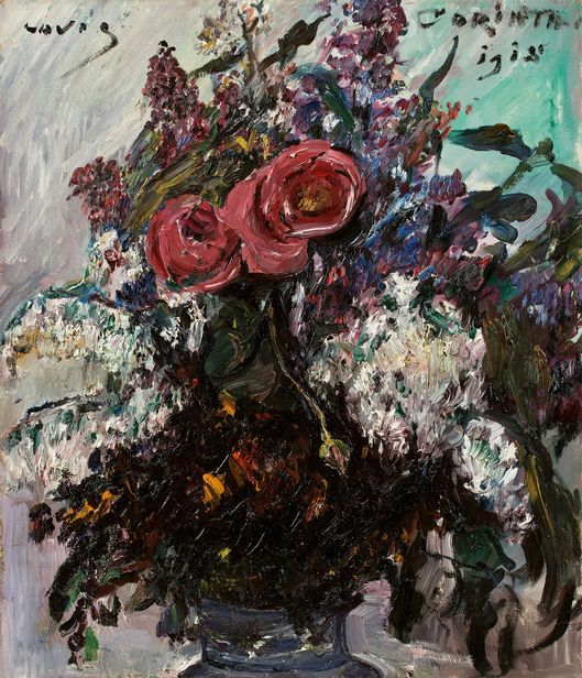 Lovis Corinth, Roses and lilac, 1918