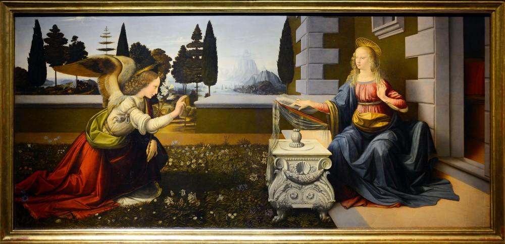 Bebådelsen, olja och tempera på trä, ca 1472-75. Image: barnebys.de
