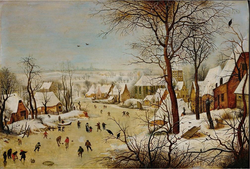 PIETER BRUEGHEL D. J. (1564-1637/38) - Winterlandschaft mit Eisläufern und Vogelfalle, Öl/Eichenholz, signiert und datiert, 1601 Wien, Kunsthistorisches Museum