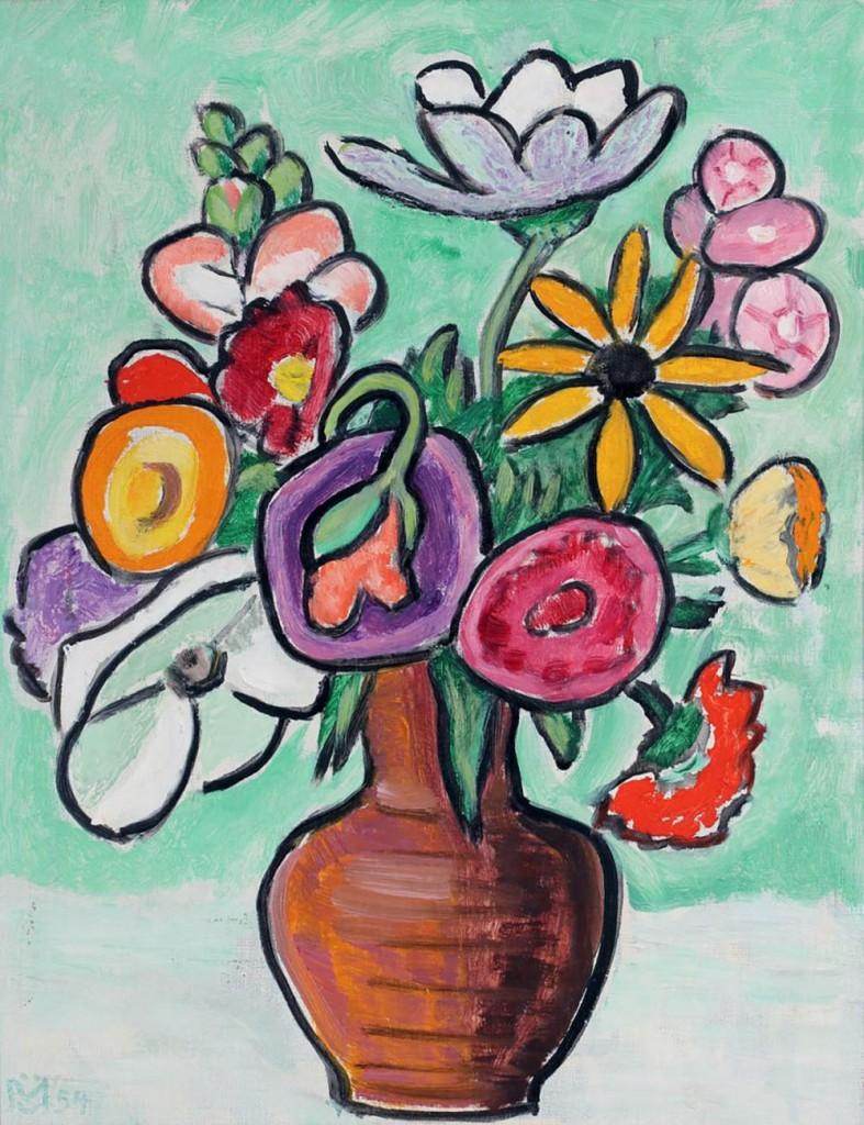 GABRIELE MÜNTER (1877 Berlin - 1962 Murnau am Staffelsee) - Blumen, Öl/Lwd., monogrammiert und datiert, 1954