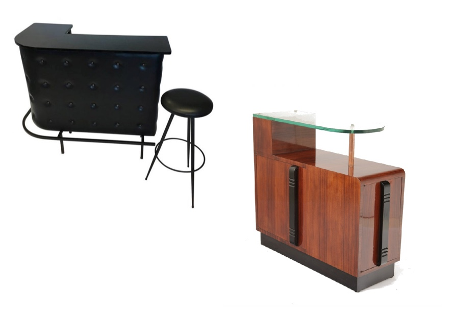 Links: Jacques Adnet - Bar Set, Frankreich um 1950 Aimo Room Rechts: Art Déco-Bar mit Glasablage, Frankreich Ehrl