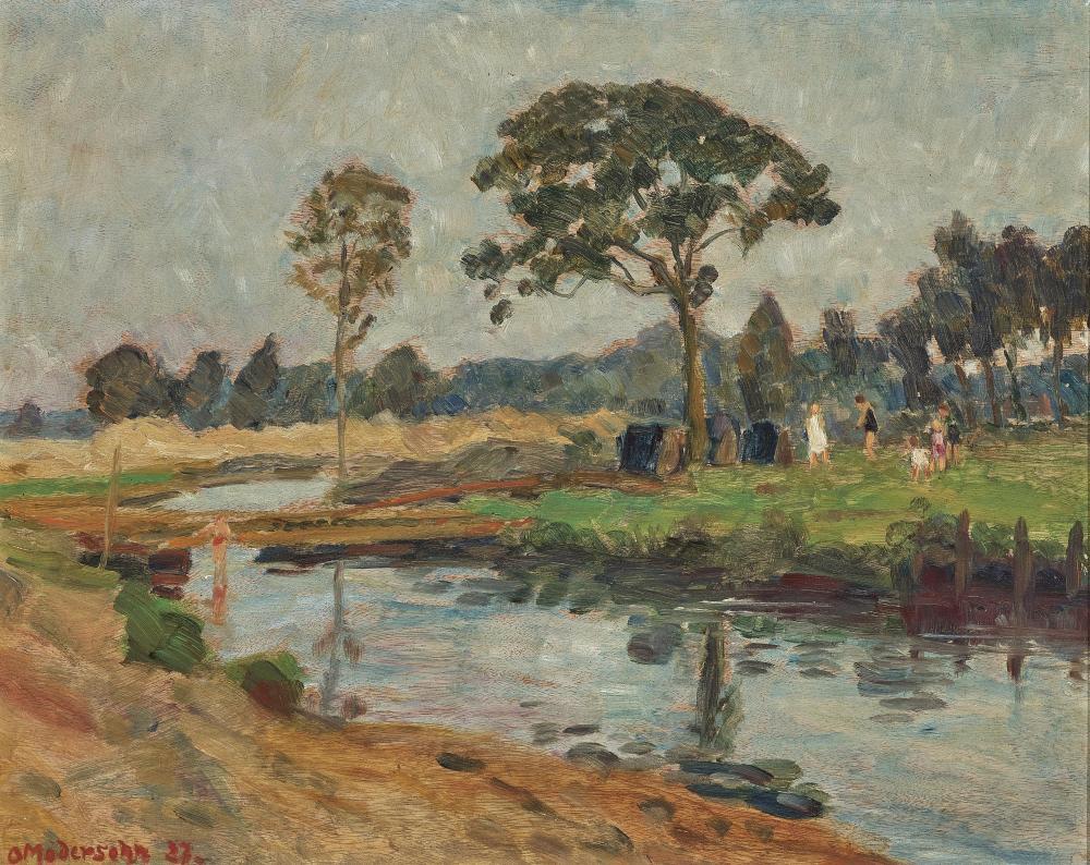 OTTO MODERSOHN (1865 Soest - 1943 Rotenburg/Wümme) - Familie Bontjes van Beek an der Wümme, Öl/Sperrholz, signiert und datiert, 1927