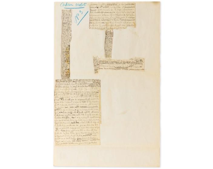 Marcel Proust, Placard manuscrit « À l'ombre des jeunes filles en fleur », 6 fragments, image ©Sotheby's
