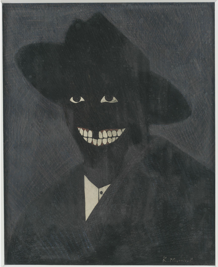 Kerry James Marshall, A Portrait of the Artist as a Shadow of His Former Self, 1980. Egg tempera on paper; 8 x 6 ½ in. (20.3 x 16.5 cm). Steven and Deborah Lebowitz Photo: Matthew Fried © MCA Chicago