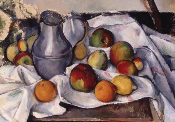 Cézanne, « Bouilloire et fruits », image via Artnet