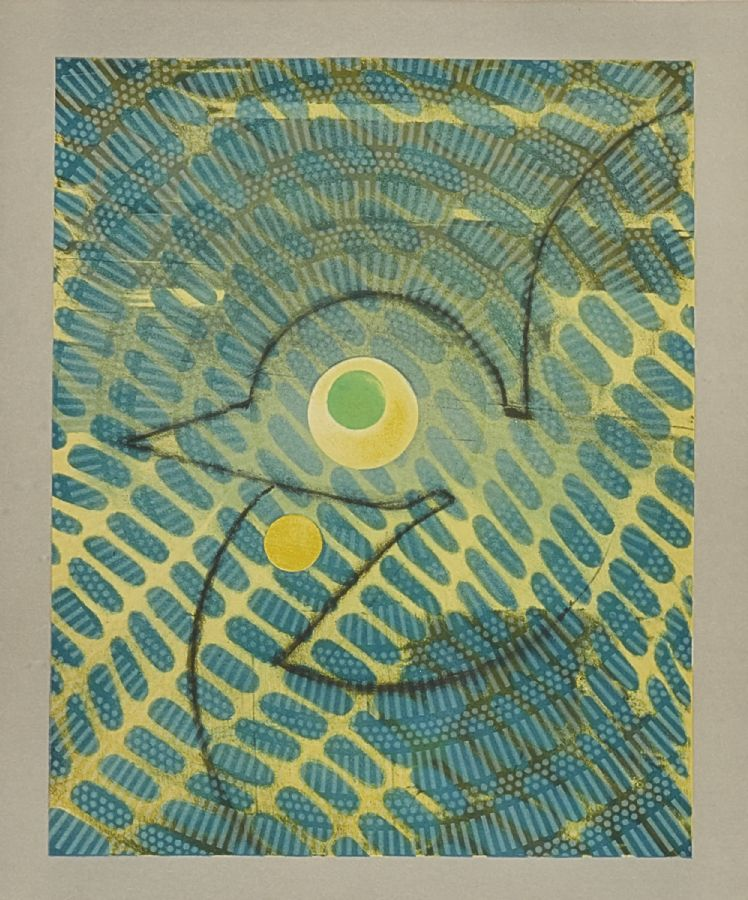 Färglitografi. Max Ernst (1891-1976), 68/70, 'Oiseau sur fond vert', motivet: 41x33. Utrop: 5,000 Sek. Metropol Auktioner