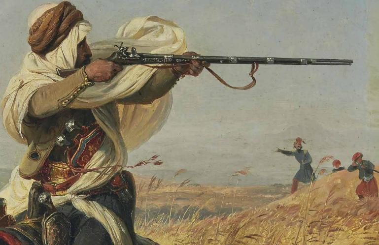 """Horace Vernet, Cavalier arabe, dit aussi """"La Retraite"""", Detail"""