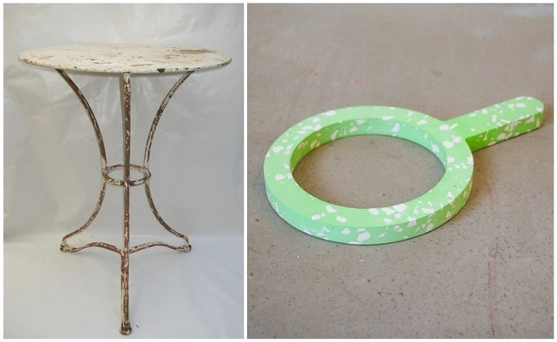 """Left: Antique French garden table in terrazzo (c.1870). Photo via: Allcollection.  Right: JOHANNA BERG. """"Terrazzo issue"""". Work of art of the CLASS PONG project. Image via: Arrivals."""