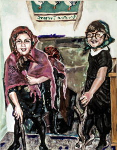 Breahna Arnold, Sisters Playing Dress Up in the Early 90s, 2014 Acrylic on Arches Paper 30 x 22 in Framed, Signed on Back, Estimate $3,500